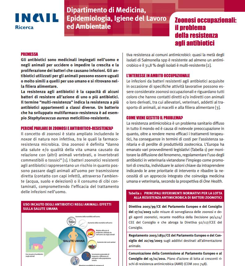 INAIL – Zoonosi occupazionali: il problema della resistenza agli antibiotici