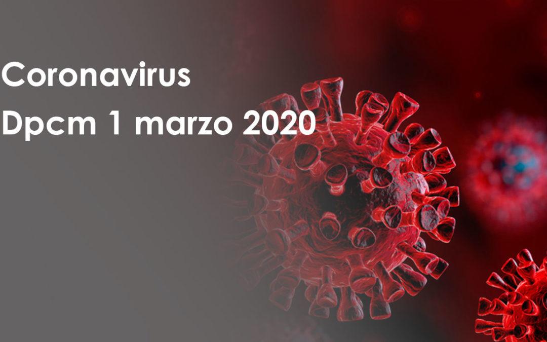 Coronavirus: misure contenute nel Dpcm 1 marzo 2020