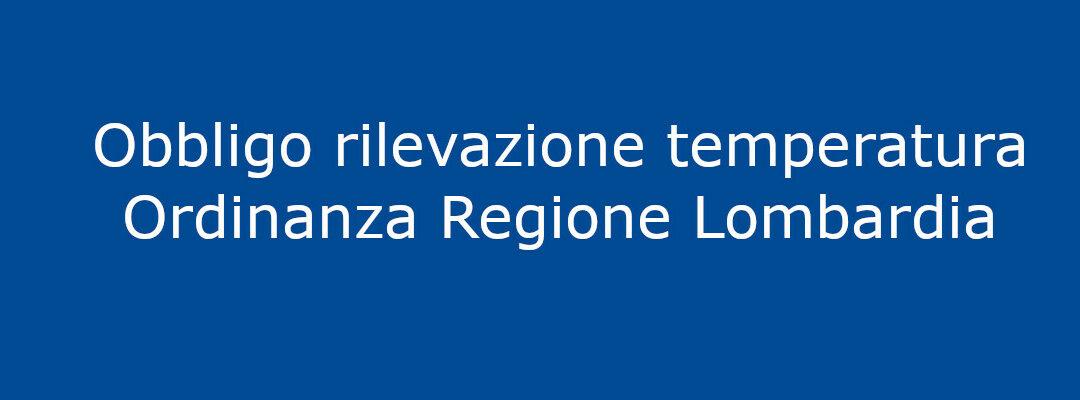 Obbligo rilevazione temperatura: ordinanza Regione Lombardia