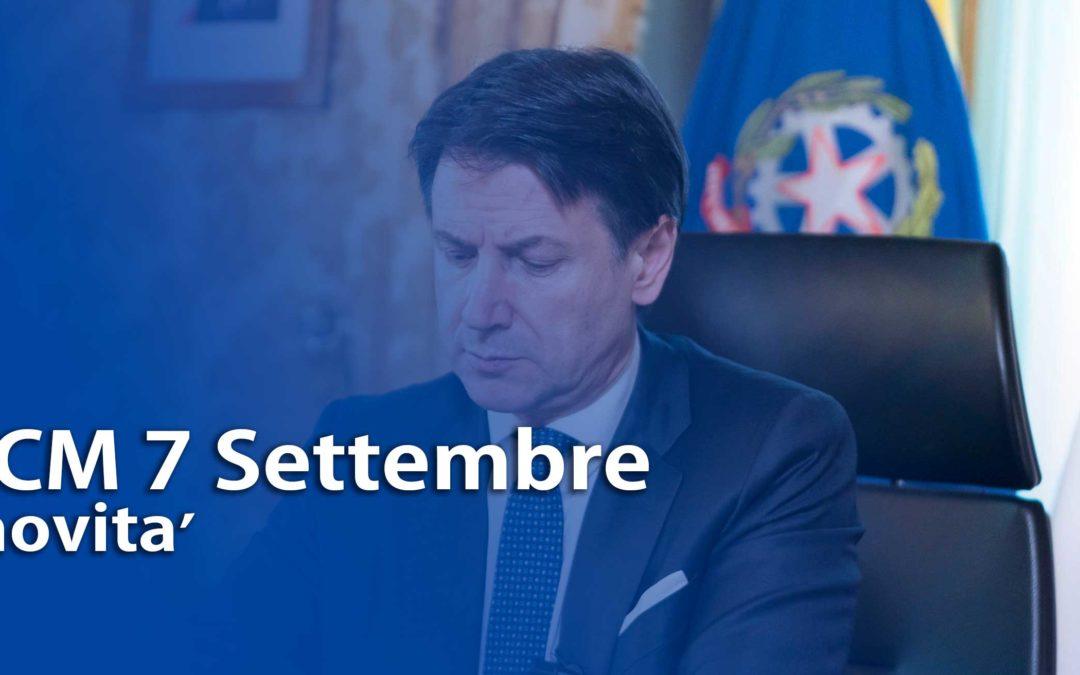 DPCM 7 Settembre: le novità del nuovo decreto