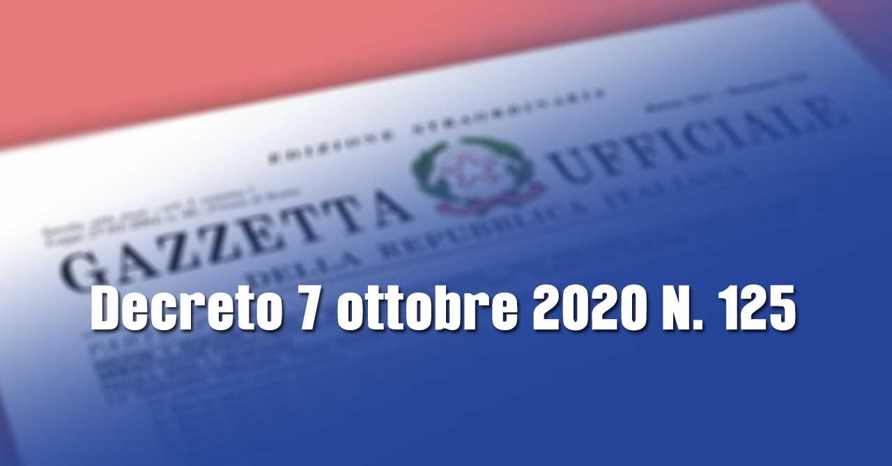 Covid-19: nuovo Decreto 7 ottobre 2020 N. 125