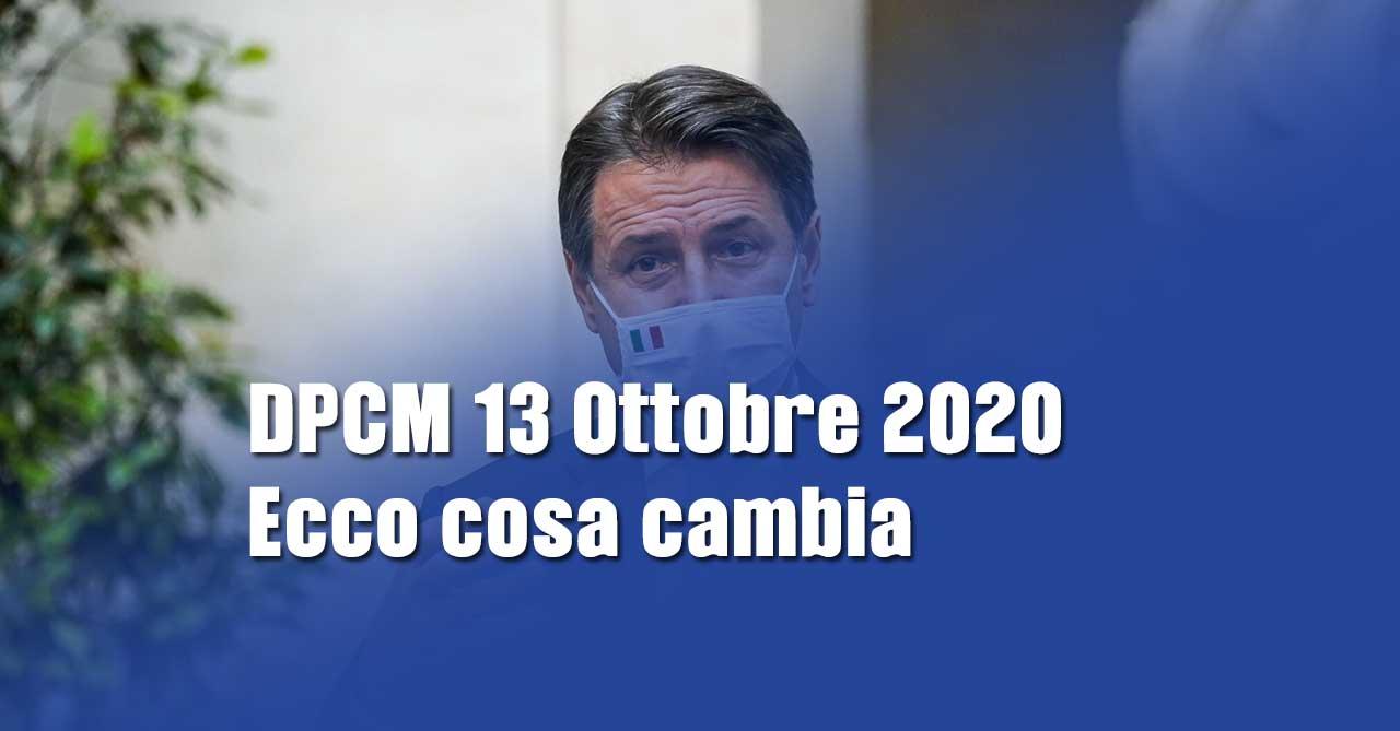 COVID-19: nuovo DPCM 13 Ottobre 2020